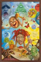 "Trends International Trippie Redd - Art, 14.725"" x 22.375"", Mahogany Framed Version"