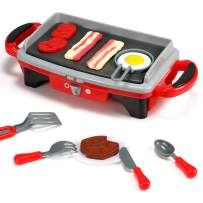 Geyiie BBQ Toy, Kids Pretend Play Food Kitchen Set Barbacue Toy with Light and Smoke Grill Play Set with BBQ Accessories Cooking Gift for Toddler Boys Girl Children Gift(Red)
