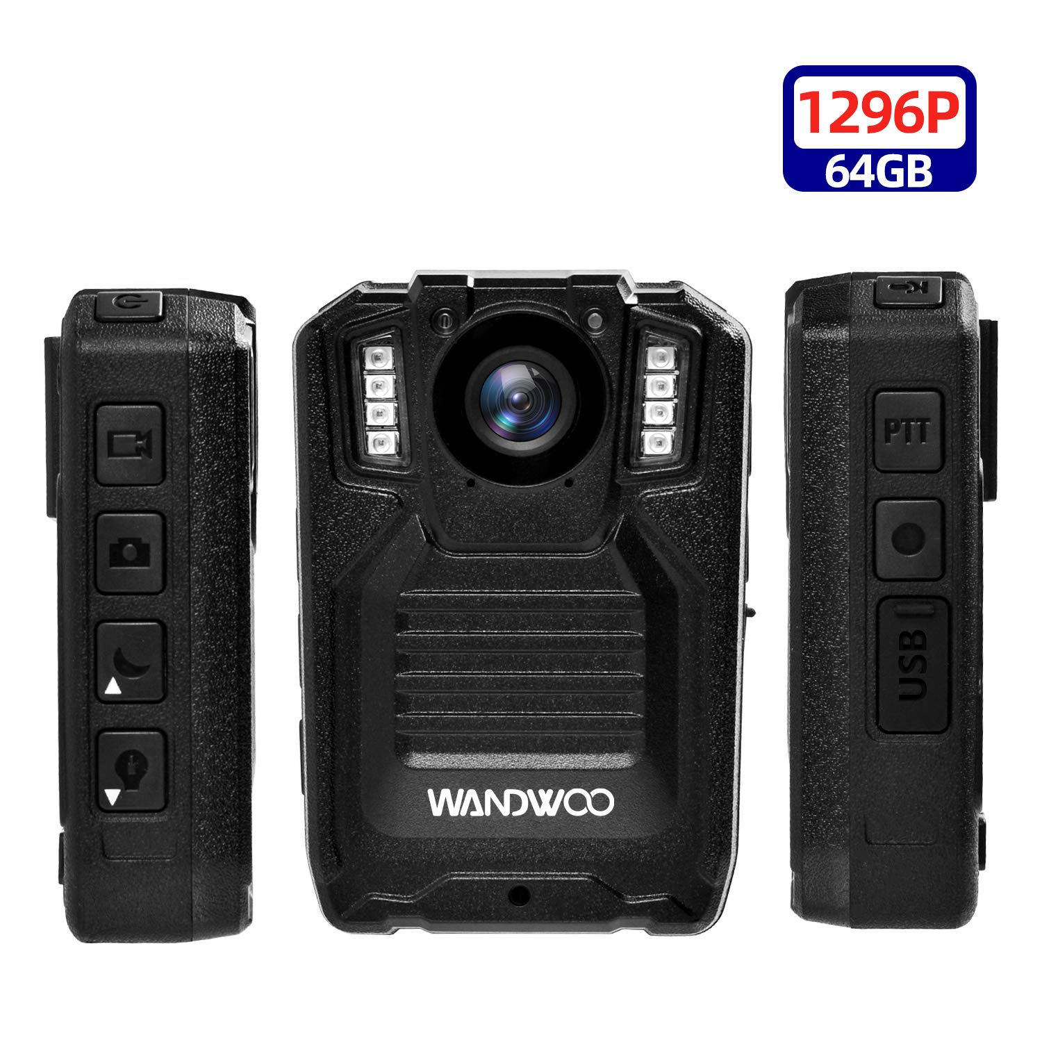 1296P Body Worn Camera for Police, Wandwoo Police Body Camera with 64GB Memory Infrared Night Vision Wide Angle IP66 Waterproof Photo Video Audio Recorder 2inch Display for Police Law Enforcement
