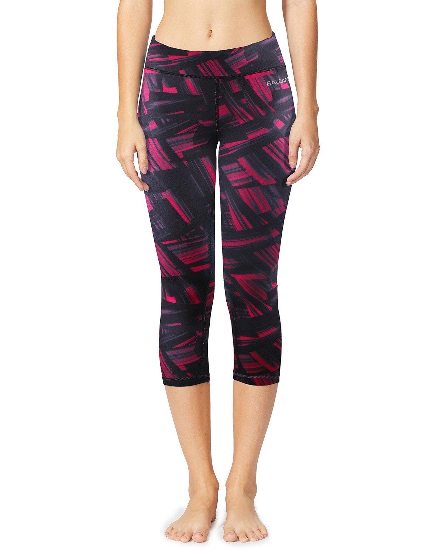 BALEAF Women's Printed Yoga Capri Workout Ankle Leggings Tummy Control Pants Hidden Pocket