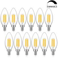 Dimmable LED Candelabra Bulb 60W Equivalent, 2700K Warm White, 6W Chandelier LED Filament Light Bulbs 600Lumens, E12 Base, B11 Decorative Candle Bulb Pack of 12