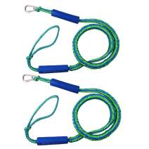 JSHANMEI PWC Bungee Dock-Line with Foam Float and 316 Stainless Steel Clip, Stretchable Mooring Rope for Rubber Boats, Kayaks Boats, Jet ski, Pontoon, Canoe, Power Boat