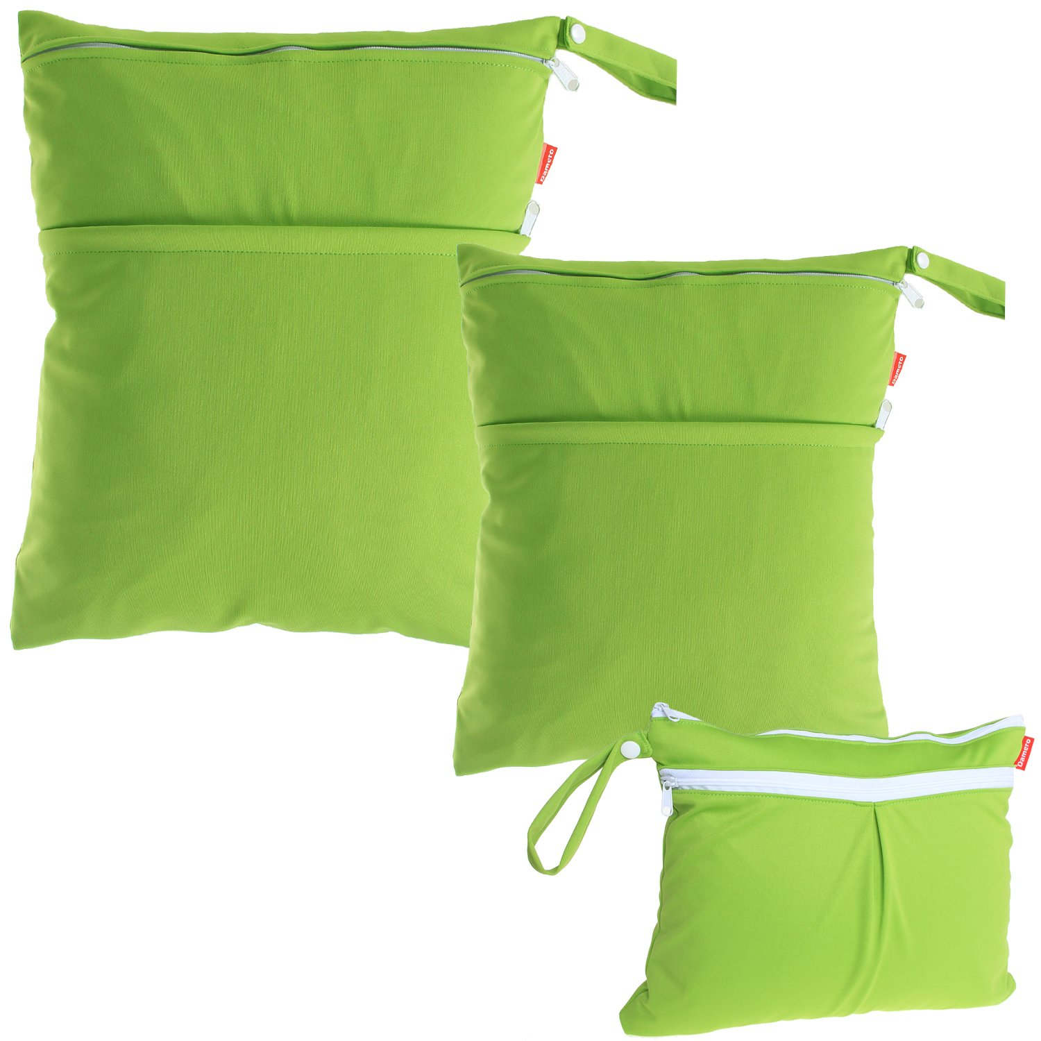 Damero 3pcs Pack Wet Dry Bag for Cloth Diapers Daycare Organizer Bag, Green