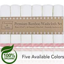 Channing & Yates - Premium Baby Washcloths - (6-Pack) Organic Bamboo Wash Cloths 2X Thicker & Softer - 10 x 10 in - Perfect for Eczema - - Adult Face Washcloths - (Pink on White)