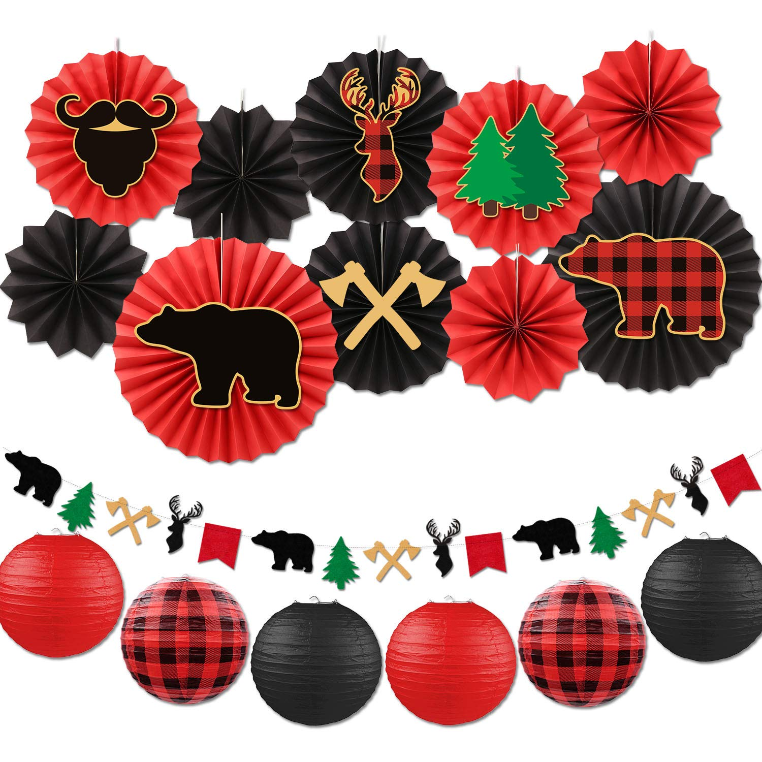 Buffalo Plaid Paper Fan Decorations Kit Lumberjack Baby Shower Hanging Paper Fans Lanterns Garland Red Black Birthday Rustic Christmas Woodland Adventure Party Supplies