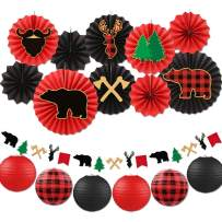 Buffalo Plaid Paper Fan Decorations Kit, Lumberjack Baby Shower Hanging Paper Fans Lanterns Garland Red & Black Birthday Rustic Christmas Woodland Adventure Party Supplies
