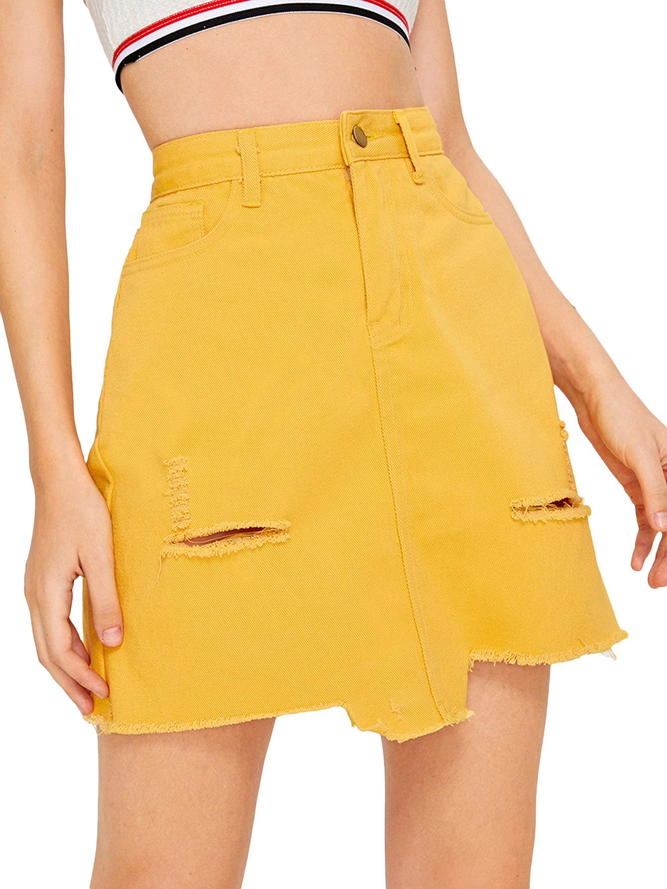 Verdusa Women's Casual Distressed Frayed Pencil Short Denim Skirt Ginger S