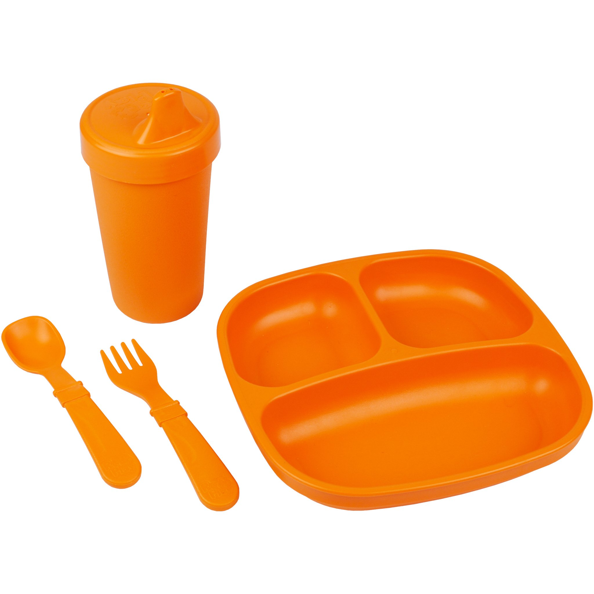 Re-Play Made in The USA Toddler Diner Set | Divided Plate, No Spill Sippy Cup, Utensil Set | Eco Friendly Heavyweight Recycled Milk Jugs - Virtually Indestructible | Orange