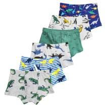 CHUNG Toddler Little Big Boys Soft Cotton Boxer Briefs Underwear Dinosaur Car Print 2-10Y