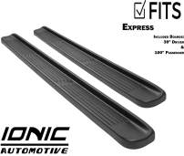 """Ionic Factory Style (fits) 1996-2016 Chevy Express Van 39"""" Driver & 100"""" Passenger Boards Only Running Boards Side Steps (3810391010)"""