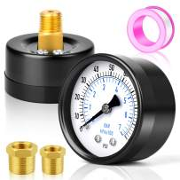 """MEANLIN MEASURE 0-100Psi 2"""" DIAL FACE 1/4""""NPT Well Pump Pressure Gauge with 1/2""""NPT and 3/8""""NPT Adaptor, 3-2-3% Accuracy,Center Back Mount"""