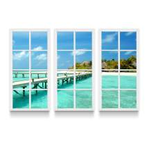 Startonight Canvas Wall Art Window for Holiday - Beach Framed Wall Art 48 X 71 Inch Set of 3