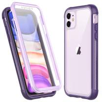 Temdan iPhone 11 Case,Full Body Built in Screen Protector Multi-Directional Bumper Case Support Wireless Charging, Heavy Duty Rugged Dropproof Cases for iPhone 11 6.1 inch 2019- (Purple)