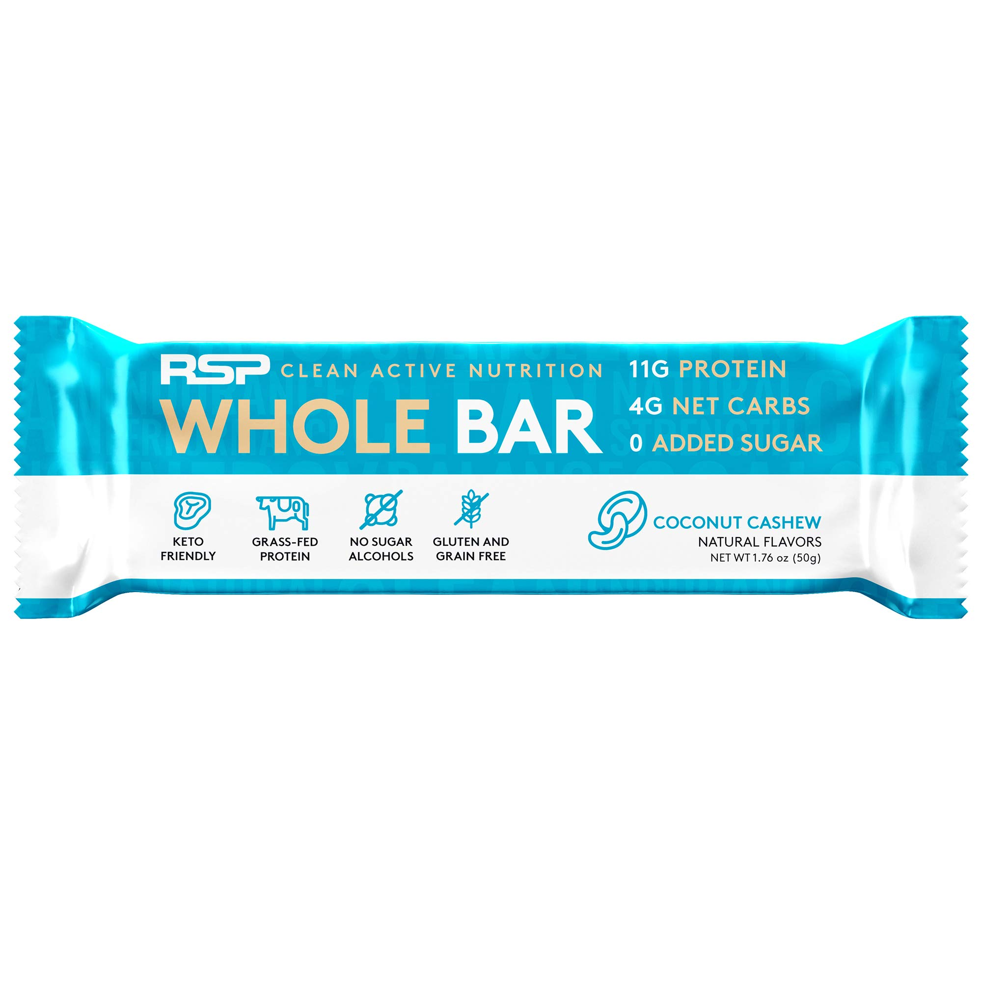 RSP Whole Bar - Low Carb Meal Replacement Bar with Grass-Fed Protein & Whole Food Ingredients, Keto and Paleo Friendly, Zero Added Sugar, Gluten Free, 12 Pack (Coconut Cashew)