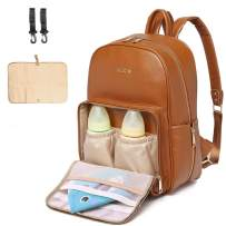 KZNI Leather Diaper Bag Backpack - Nappy Bag Baby Bags for Mom Unisex Maternity Diaper Bag with Stroller Hanger|Thermal Pockets|Adjustable Shoulder Straps|Water Proof| LargeCapacity(Brown)