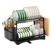 Dish Drying Rack, HOWDIA Aluminum Foldable 2-Tier Dish Rack with Utensil Holder, Cutting Board Holder and Dish Drainer for Kitchen Counter (2-Tier)