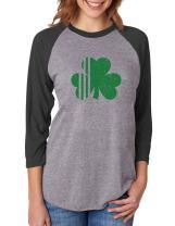 St. Patricks Day Irish Shamrock Clover 3/4 Women Sleeve Baseball Jersey Shirt