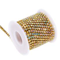 BLINGINBOX Rhinestones Chain 10 Yards SS16/4mm Crystal AB Glass Sew On Rhinestones Cup Chain With Gold Bottom Sew On Trim(ss16-4mm, Crystal AB-Gold Bottom)