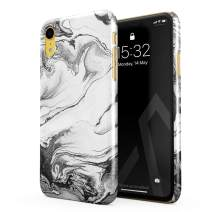 BURGA Phone Case Compatible with iPhone XR - Silver Flow Water Grey Black and White Marble Cute Case for Girls Thin Design Durable Hard Shell Plastic Protective Case