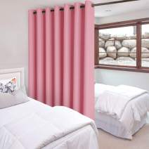 DWCN Total Privacy Room Divider Blackout Curtain - Thermal Curtains for Patio Door, Living Room, Bedroom Partition and Shared Office Space, 1 Grommet Curtain Panel, 15ft Wide x 8ft Tall, Pink