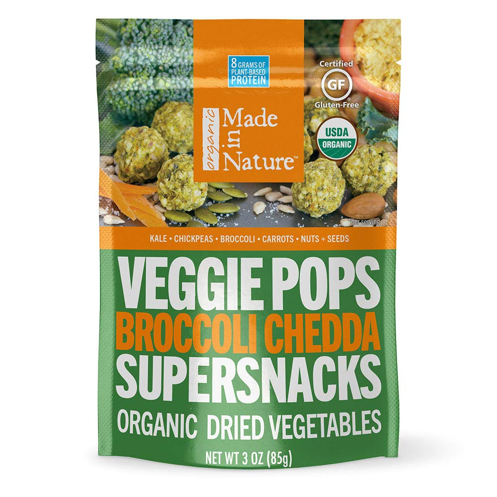 Made In Nature Organic Broccoli Chedda Veggie Pops, 3oz (6-Pack) - Non-GMO Vegan Veggie Super Snack