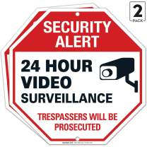 Video Surveillance Sign, (2 Pack) 12x12 Rust Free Heavy 0.40 Aluminum, Security Surveillance Warning Sign, Weather/Fade Resistant, Easy Mounting, Indoor/Outdoor Use, Made in USA by SIGO SIGNS