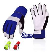 Vgo 3Pairs High Dexterity Soft Genuine Goat Leather Palm Touchscreen Construction Maintenance Light Duty Work Gloves(Size XL, 3Colors, GA7673)