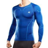 LP SUPPORT ARM2401Z Men's AIR Compression Shirt - Long Sleeve Top for Sports and Workouts - Fast Drying Materials (Navy Blue - L)