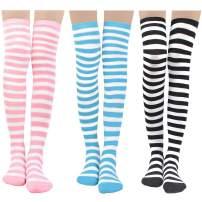 Womens Stripe Knee-High Socks - Leg Warmer Dresses Knit High Stockings Cosplay Socks Christmas Gift