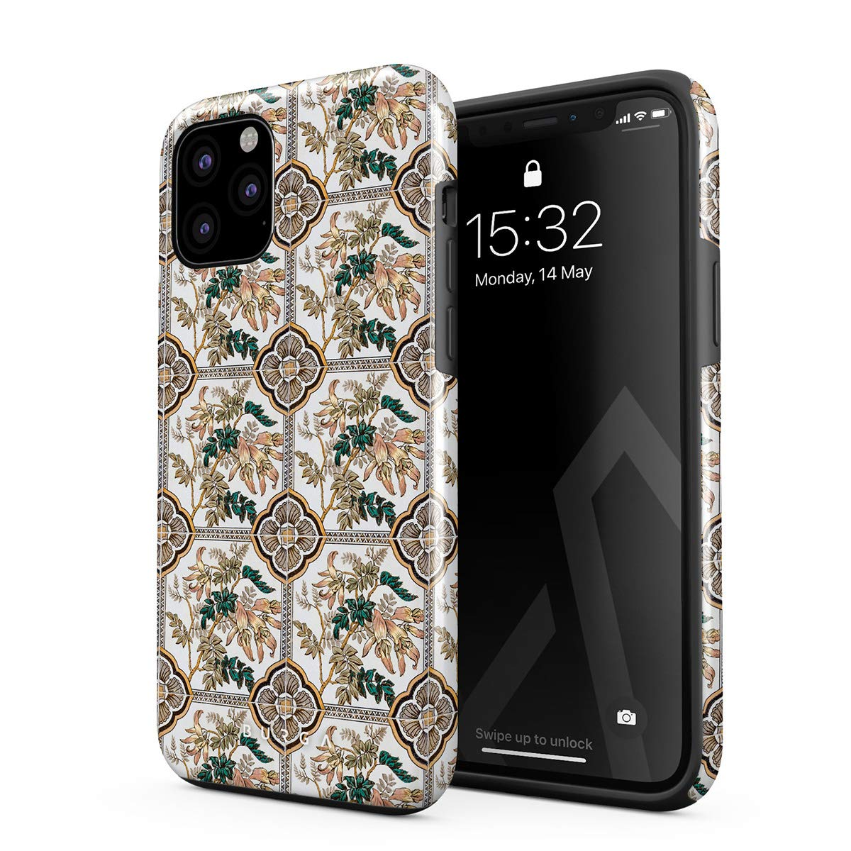 BURGA Phone Case Compatible with iPhone 11 PRO - Vintage Flower Pattern for Girls Woman Boho Bohemian Summer Mosaic Pattern Heavy Duty Shockproof Dual Layer Hard Shell + Silicone Protective Cover