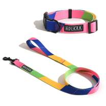 HDLKRR Girl Dog Collars and Leash Set,Adjustable Puppy Collar with Matching Leash for Small Medium Dog Cats (1-L)