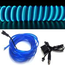 M.best El Wire USB Neon Light for Automotive Interior Car Decoration with 6mm Sewing Edge (5M/15FT, Blue)