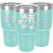 Personalized Tumblers with Lids and Straws, Mama Bear Engraved in USA by iProductsUS,30oz Vacuum Insulated Travel Coffee Mugs,Stainless Steel Double Wall Thermos,Customized Cups (Green Teal)