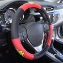 """BDK Wonder Woman Velvet Grip Steering Wheel Cover - Black/Red on Smooth Velour for Cars Trucks SUVs - 15"""" Standard Size"""