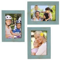 """Rustic Torched Wood Picture Frames: Includes three 4""""x6"""" Photo Frames: Ready to Hang or use Tabletop. Shabby Chic, Driftwood, Barnwood, Farmhouse, Reclaimed Wood Picture Frame (Turquoise)"""