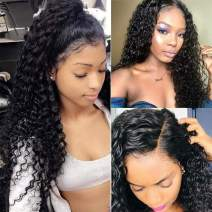Perstar 360 Lace Frontal Wigs Pre Plucked with Baby Hair Brazilian Deep Wave Wet and Wavy Human Hair Wigs 150% Density for Black Women(14 inch, 360 front wig)