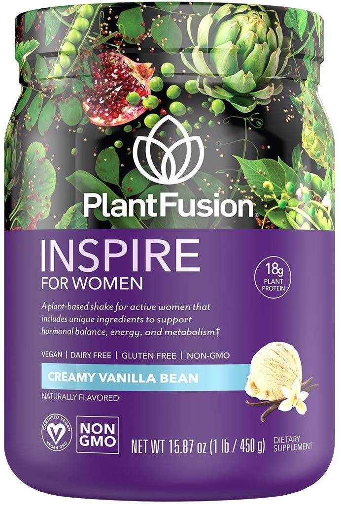 PlantFusion Inspire Women Protein Powder | Plant Based Vegan Protein Supplement | Balances Stress & Female Hormones | Supports Metabolism, Strong Hair & Nails | No Bloat |Vanilla Bean 1.23 Pounds