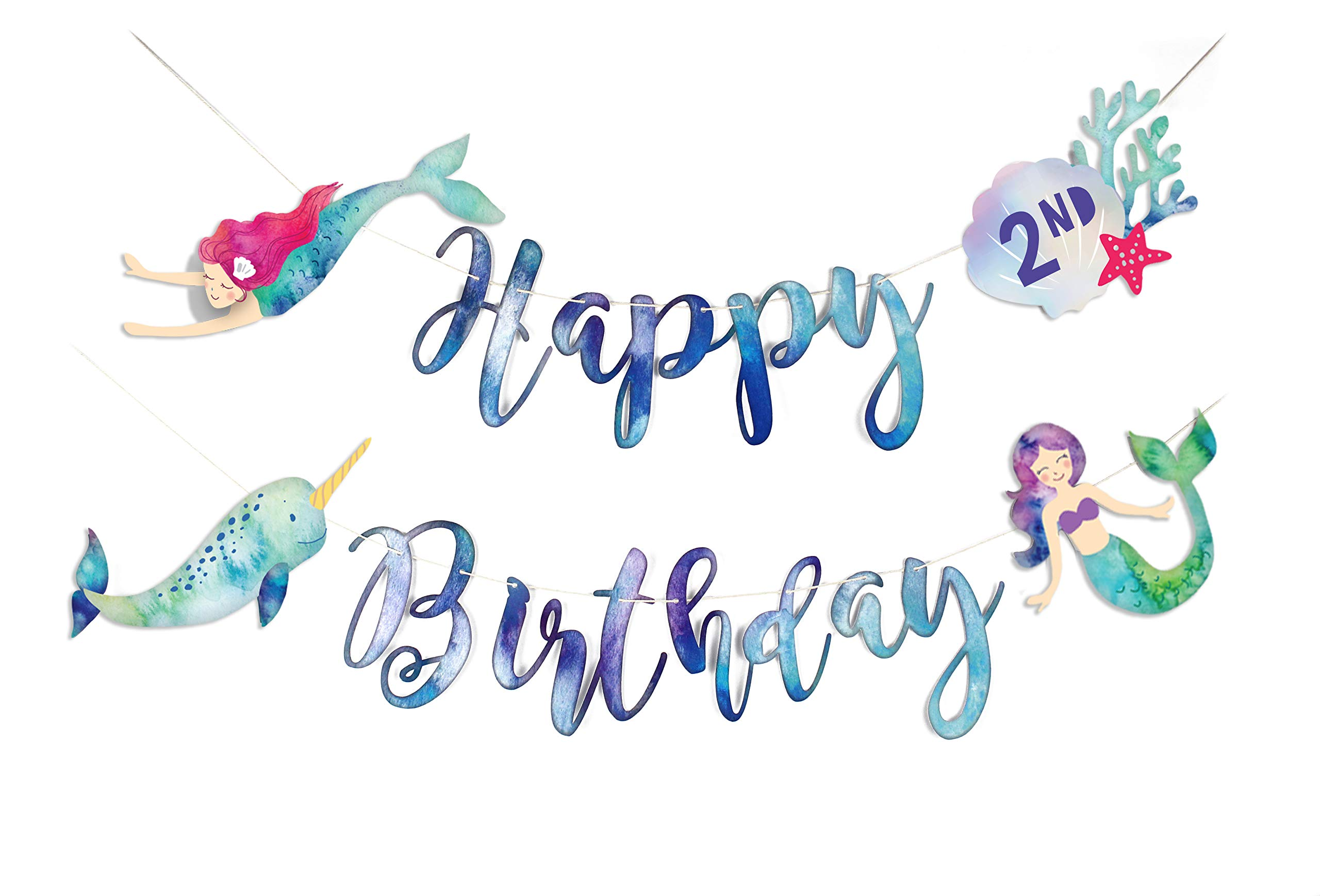 Mermaid and Narwhal - Happy Birthday Banner   Watercolor Mermaid Bunting   Under The Sea Birthday Party Supply   Customize with Age Number