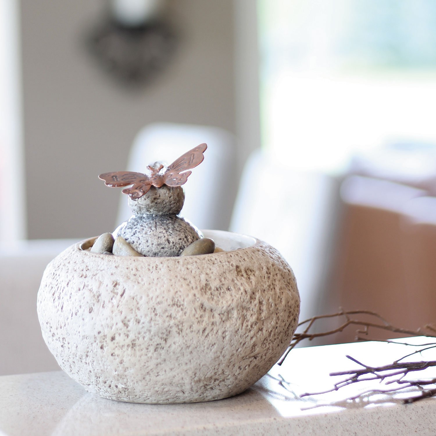 Foreside Home & Garden Butterfly On Rock Indoor Water Fountain with Pump, Brown