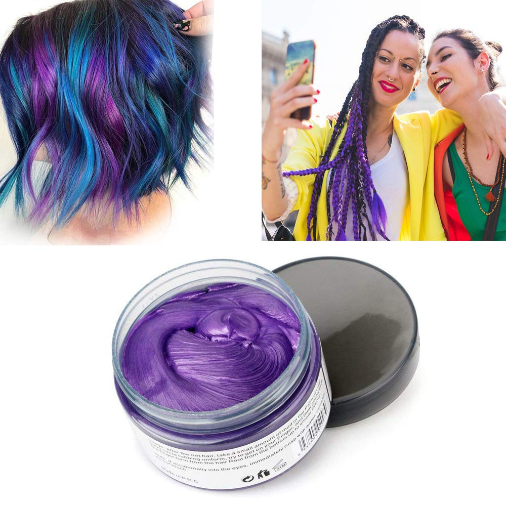 Purple Hair Color Wax, Natural Hairstyle Wax 4.23 oz, Temporary Hairstyle Cream for Party, Cosplay, Halloween, Daily use, Date, Clubbing (Purple)