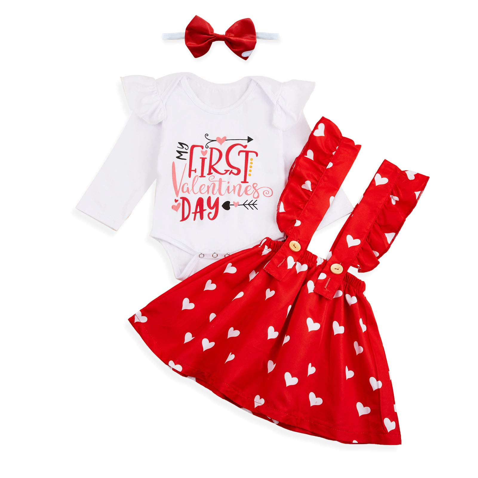 Baby Girls My First Valentine's Day Outfit Ruffles Long Sleeve Romper + Love Heart Suspenders Skirt Set
