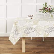 """Town & Country Living Hastings Tablecloth - Farmhouse/Indoor/Outdoor/Picnic, 100% Woven Cotton, Stain Resistant Machine Washable, 60""""x84"""" Ivory"""