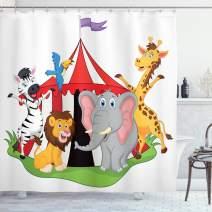 "Ambesonne Circus Shower Curtain, Performer Acrobat Animals in Circus Tent Happy Giraffe Elephant Joyful Art, Cloth Fabric Bathroom Decor Set with Hooks, 84"" Long Extra, Green Yellow"
