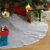 SoarDream 36 inches Christmas Tree Skirt Silver Tree Skirt Sequin Decorative Handicraft for Christmas Holiday Party