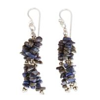 NOVICA .925 Sterling Silver and Lapis Lazuli Waterfall Earrings, Rejoice'
