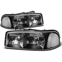 Black Housing Clear Corner Headlight Assembly Lamps Replacement for GMC Sierra Yukon XL 1500 2500 3500 C3 99-07
