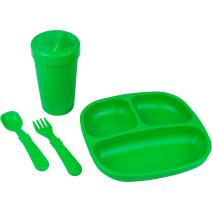 Re-Play Made in The USA Toddler Diner Set | Divided Plate, No Spill Sippy Cup, Utensil Set | Eco Friendly Heavyweight Recycled Milk Jugs - Virtually Indestructible | Kelly Green
