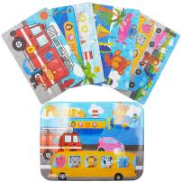 Zocita 4-in-1 Children Wooden Jigsaw Puzzles, 4-Pack in an Iron Box for 2-3 Years Old Kids (Fire Engine)