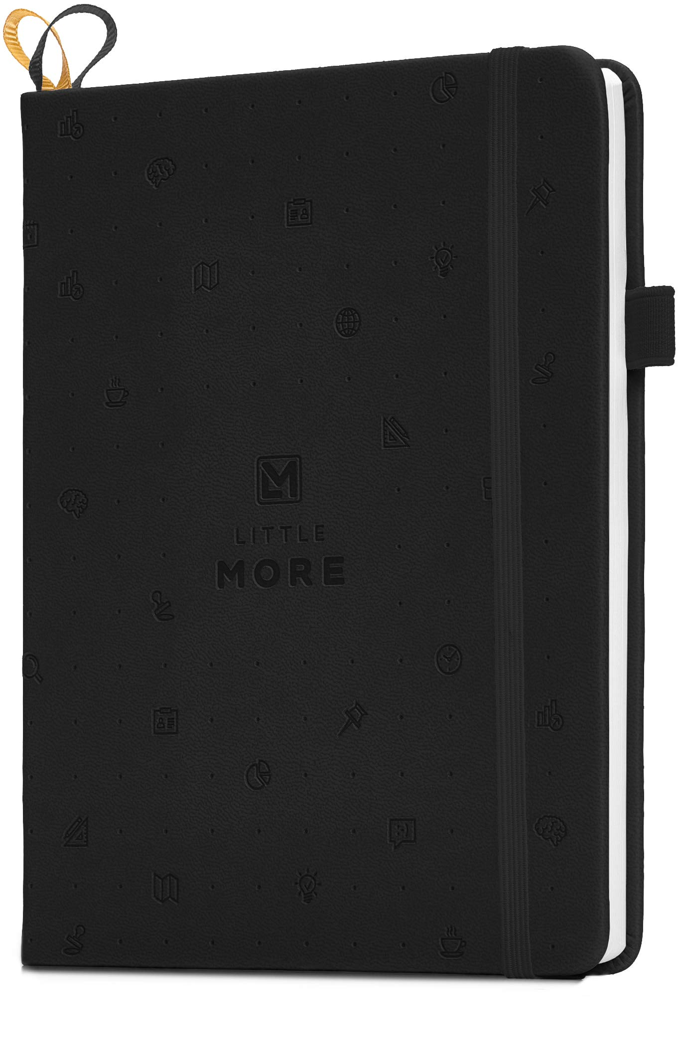 Little More Dot Grid Notebook 4 Colors/Dotted Notebook/Journal Hardcover with Thick Paper - Leather Pocket Bullet Planner (7-5,5) / Small Diary with Numbered Pages & Pen Loop + Stickers (Black)
