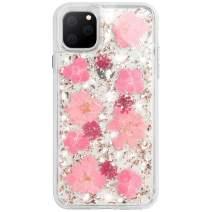 WATACHE iPhone 11 Case, Luxury Glitter Bling Cute Girls Women Genuine Dried Flower Heavy Duty Fully Body Protection Soft TPU Back + Hard PC Case for Girl Women,Pink
